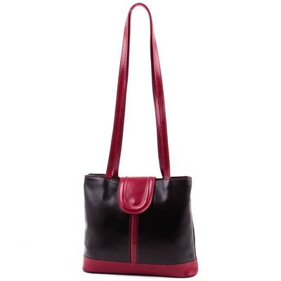 Fekete-piros bőr női táska