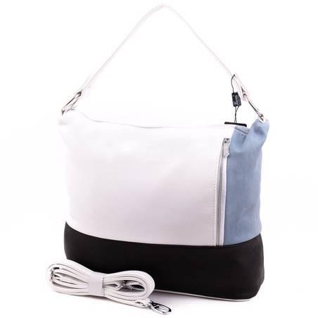 Karen fehér-fekete-kék rostbőr női táska