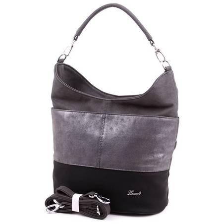 Karen fekete-ezüst-szürke rostbőr női  táska