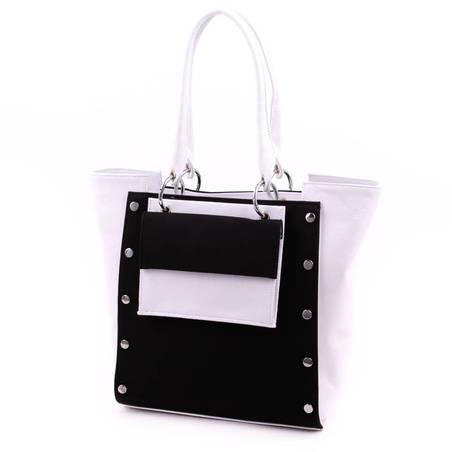 Karen fehér-fekete rostbőr női táska