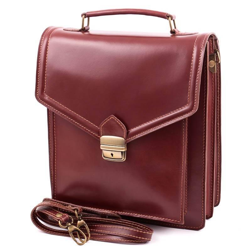 Álló fazonú, barna bőr férfi táska