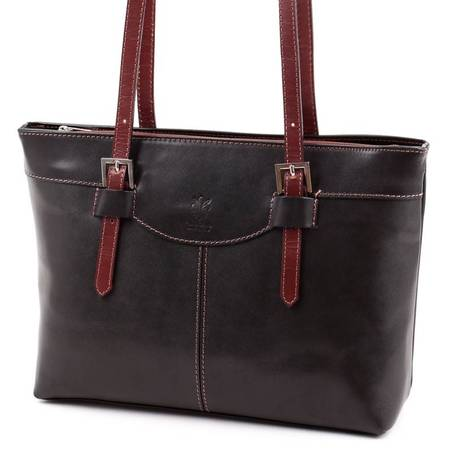 Fekete-barna női bőr táska