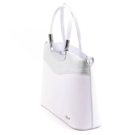 1401bd3b2cc9 Karen fehér-ezüst merev falú női rostbőr táska #4745