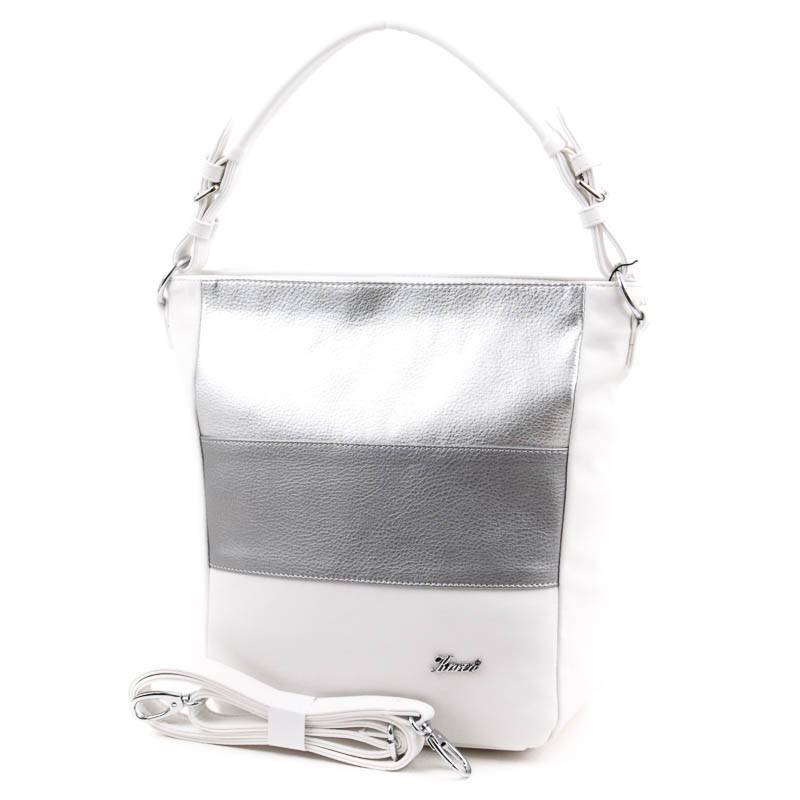 49b21ef74ee0 Karen fehér-ezüst rostbőr női táska