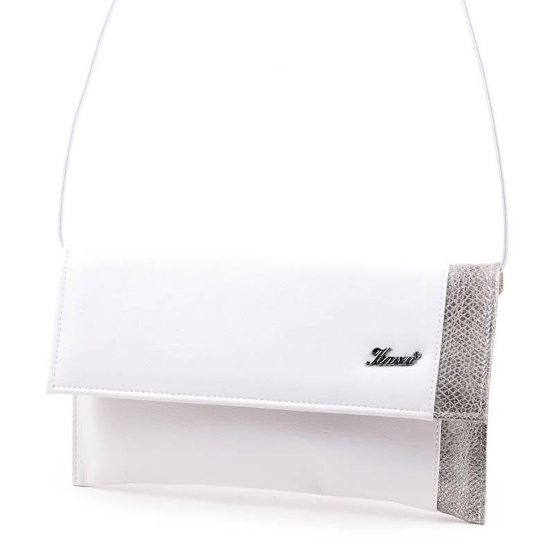 Karen fehér-ezüst női rostbőr alkalmi táska