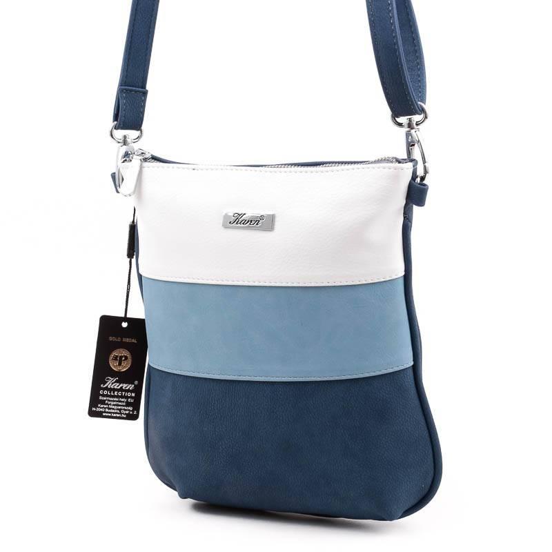 5daf1ec248 Karen kék-fehér rostbőr női válltáska #4831