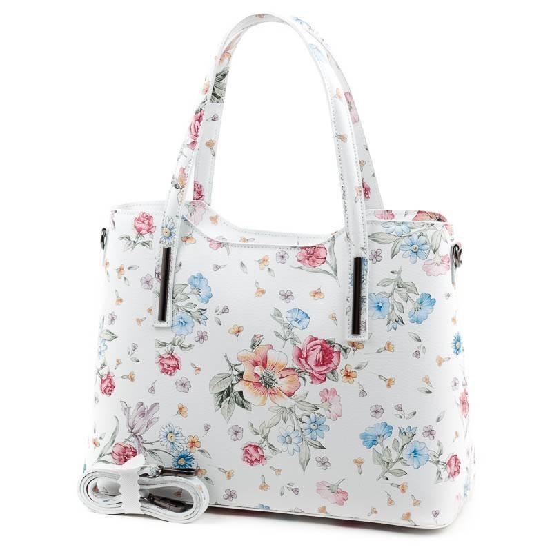 Fehér virág mintás olasz bőr női táska  4850 4b6925d046
