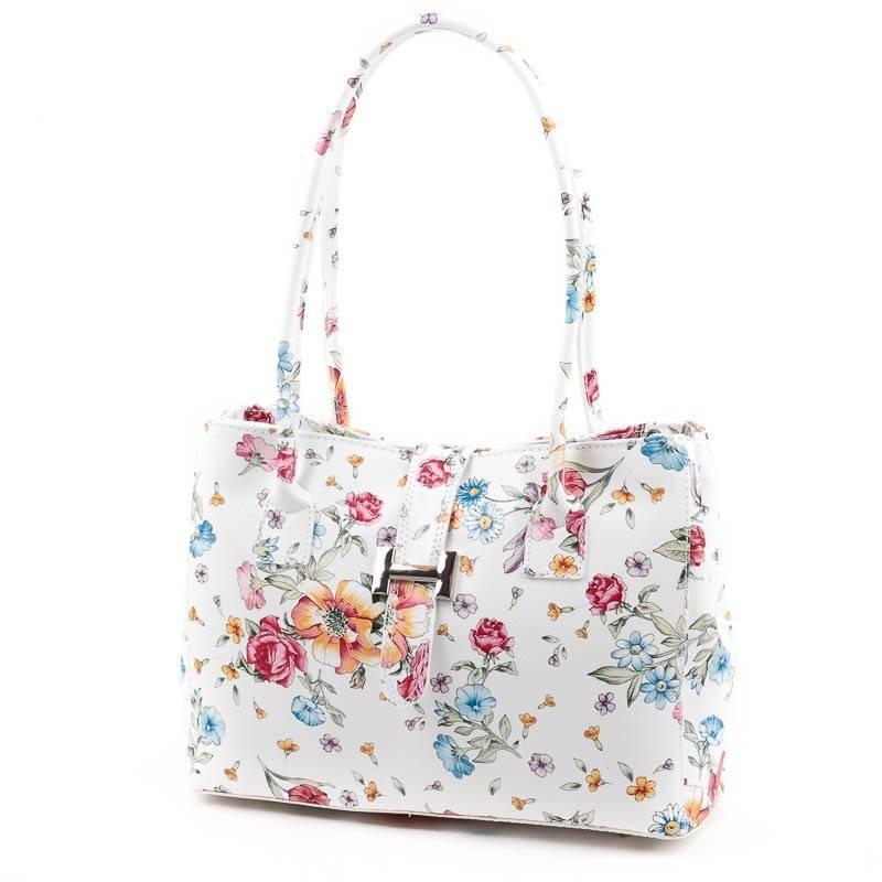 Fehér virág mintás olasz bőr női táska  4853 c5b94272b4