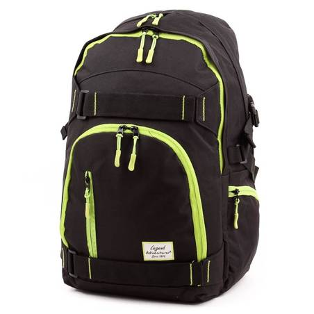Adventurer fekete-zöld laptoptartós hátizsák