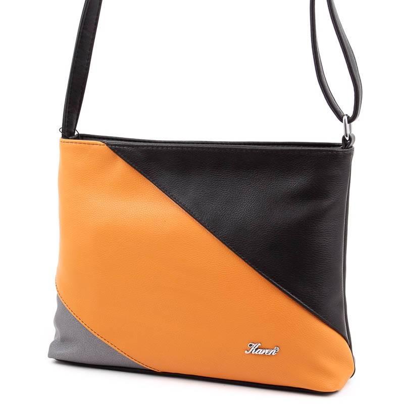 Karen fekete-sárga rostbőr női táska  5129 b75272b7c0