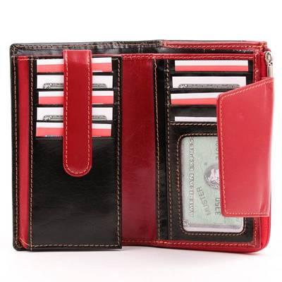 Fekete-piros női bőr pénztárca