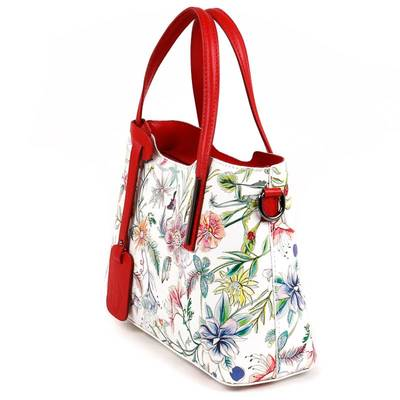 Fehér-piros virág mintás...