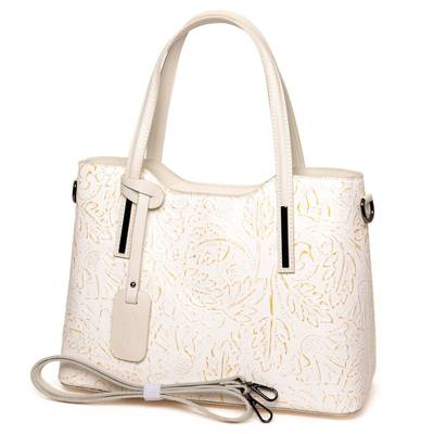 Bézs-arany olasz bőr női táska