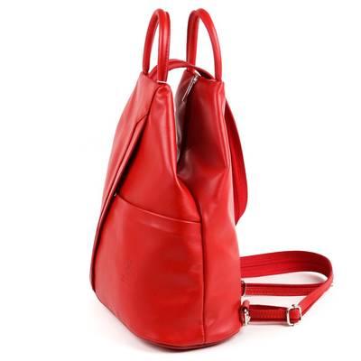 Piros bőr női hátitáska
