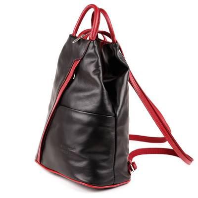 Fekete-bordó bőr női hátitáska