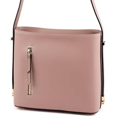 Púder színű bőr női táska