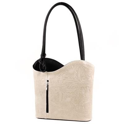 Bézs-fekete bőr női táska