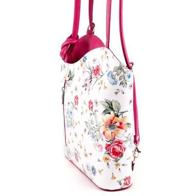 Fehér-pink virág mintás bőr...
