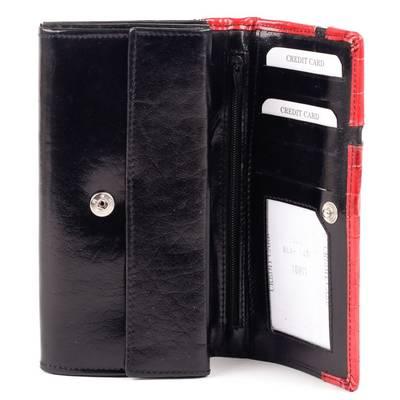 Fekete-piros bőr pénztárca