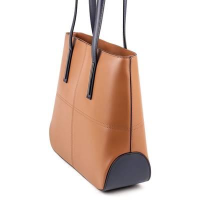 Barna-kék olasz bőr női táska