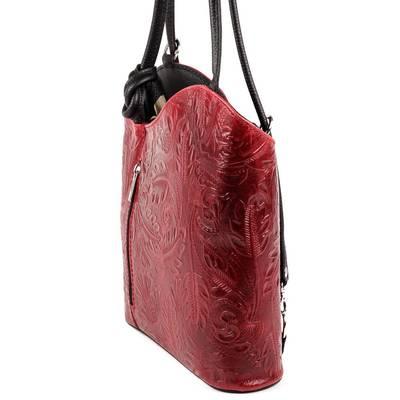 Bordó-fekete bőr női táska