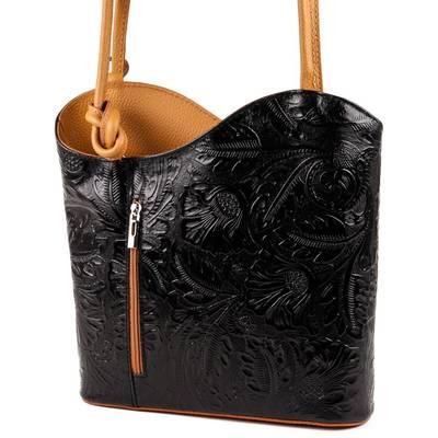 Fekete-sárga bőr női táska