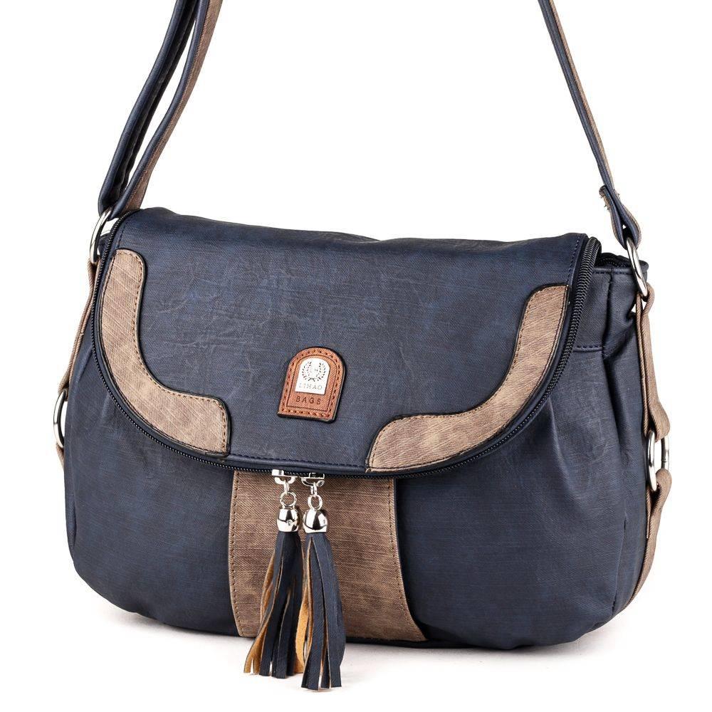L&H Bags kék barna női táska