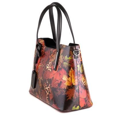 Fekete mintás bőr női táska
