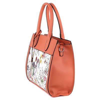 Dudlin korall-fehér női táska
