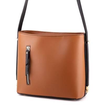 Barna-fekete bőr női táska