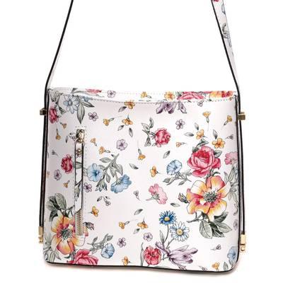 Fehér-virágos bőr női táska