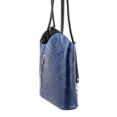 Kék-fekete bőr női táska