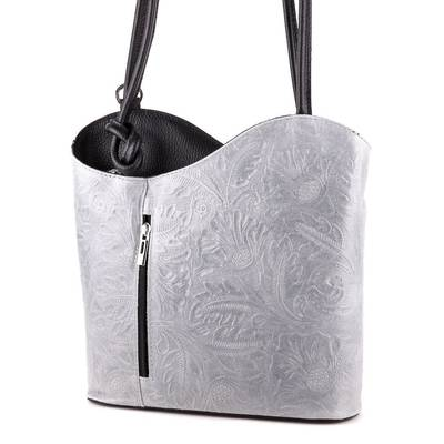 Szürke-fekete bőr női táska