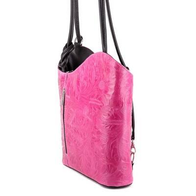 Pink-fekete bőr női táska
