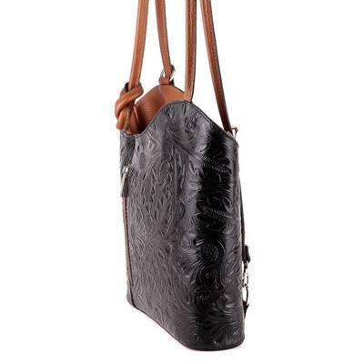 Fekete-barna bőr női táska