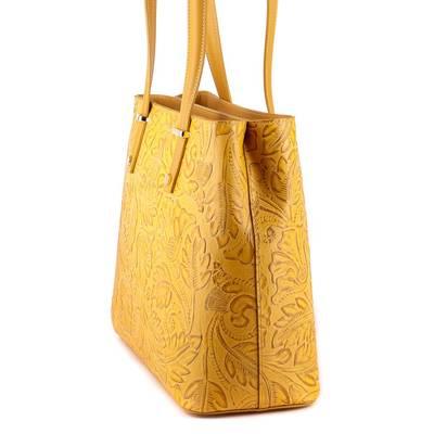 Sárga bőr női táska