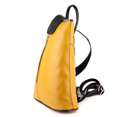 Sárga-fekete bőr női hátitáska