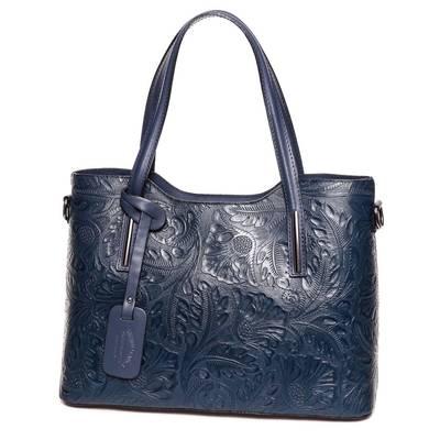 Türkizkék bőr női táska