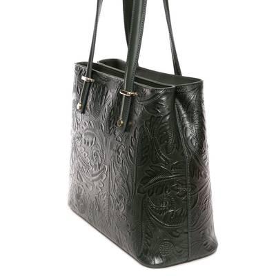 Zöld bőr női táska