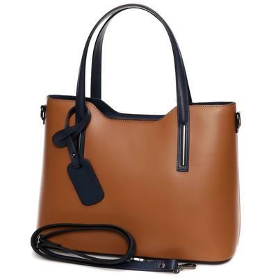 Barna-kék bőr női táska