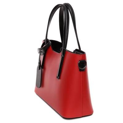 Piros-fekete bőr női táska