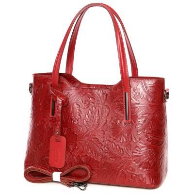 Meggypiros bőr női táska
