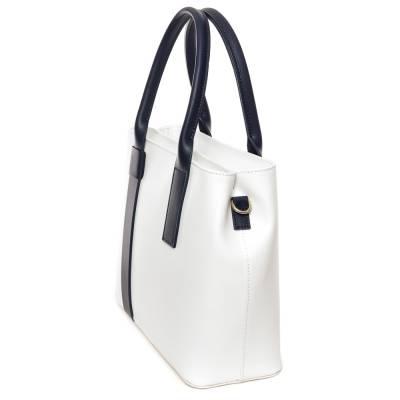 Fehér-kék bőr női táska