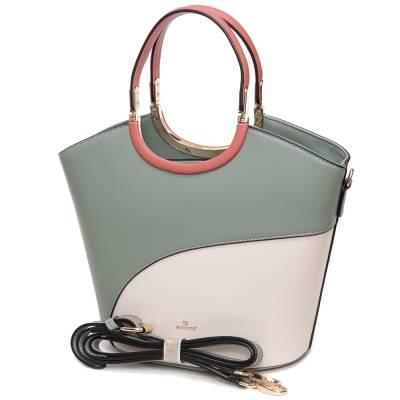 Micussi zöld-bézs női táska
