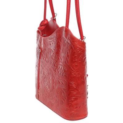 Piros bőr női táska