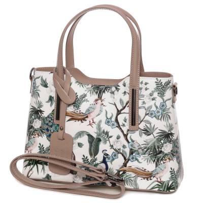 Fehér mintás bőr női táska