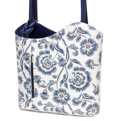 Kék-fehér mintás bőr női táska