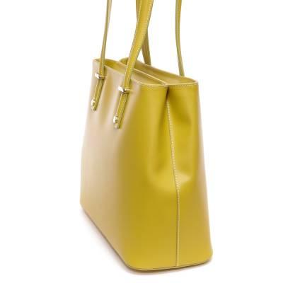 Banánzöld bőr női táska