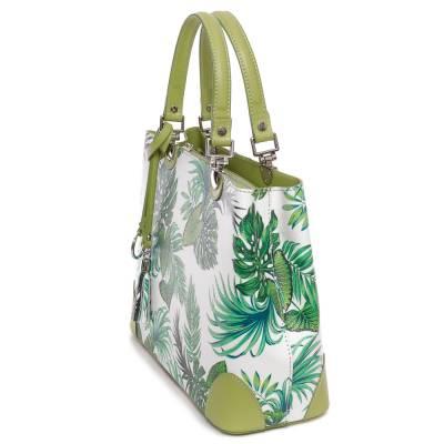 Zöld-fehér bőr női táska