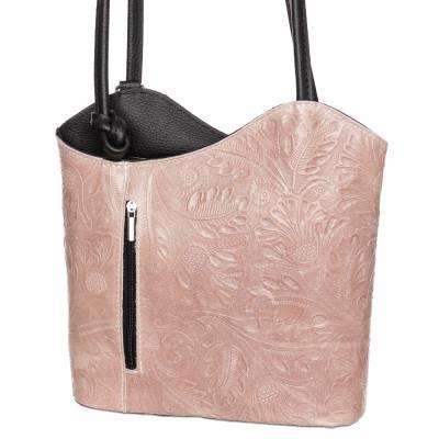 Púder-fekete bőr női táska